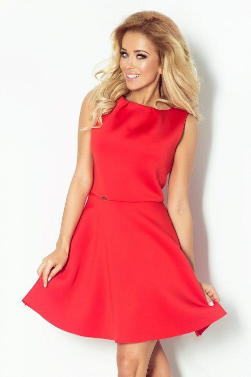 Piankowa rozkloszowana sukienka na lato czerwona