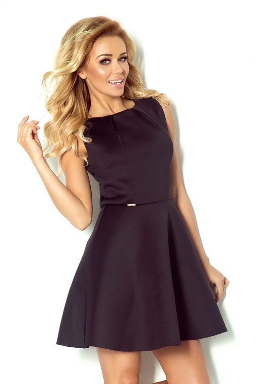 Piankowa rozkloszowana sukienka na lato czarna