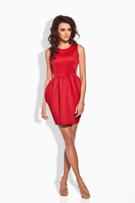 Czerwona Koktajlowa Sukienka Bombka bez Rękawów