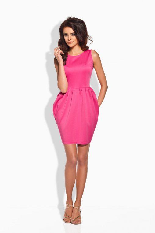 Różowa Koktajlowa Sukienka Bombka bez Rękawów