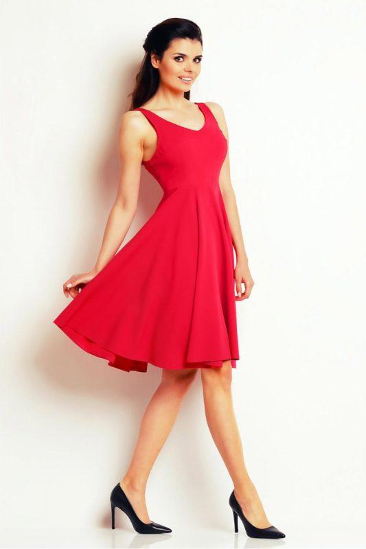 Letnia Sukienka Midi z Szerokim Dołem Czerwona