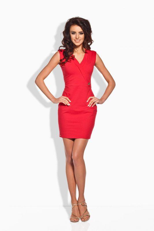 Elegancka Czerwona Dopasowana Sukienka