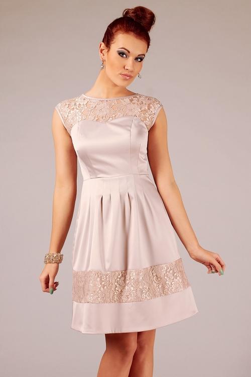 Letnia rozkloszowana sukienka wizytowa beżowa