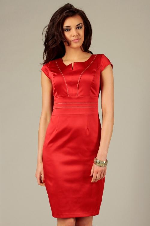 Wieczorowa satynowa elegancka sukienka bez rękawów czerwona