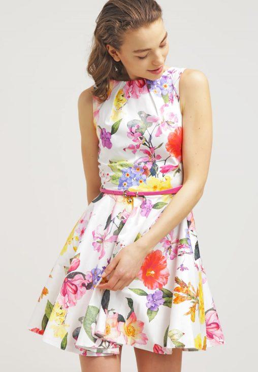Letnia sukienka mini z paskiem kwiaty