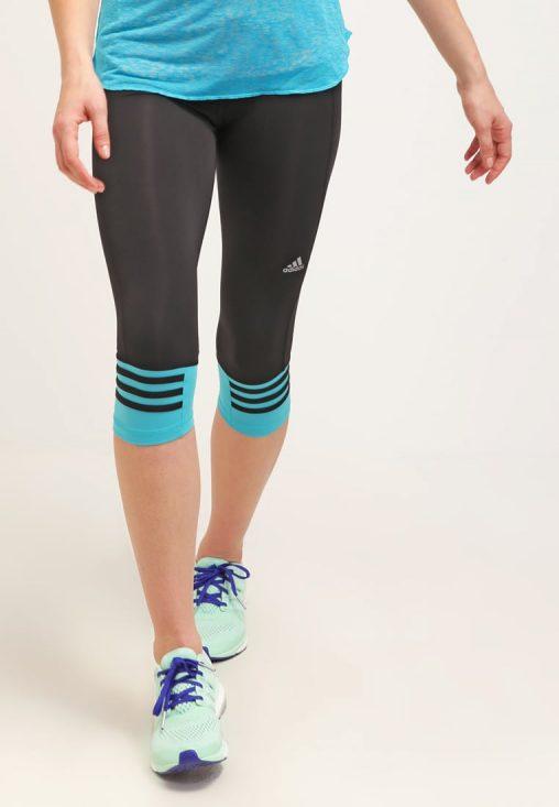 Legginsy fitness adidas performance czarne z niebieskim