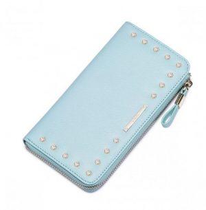 Skórzany podłużny portfel damski