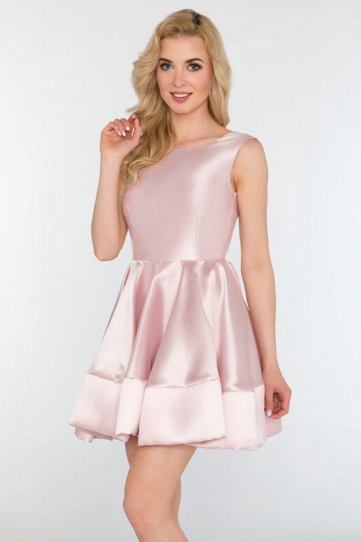 Rozkloszowana wizytowa sukienka bez rękawów różowa