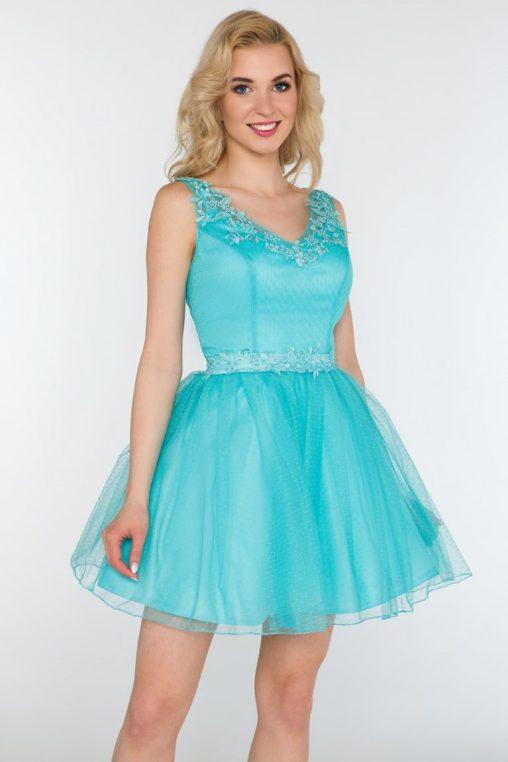 Balowa sukienka z szyfonu miętowa