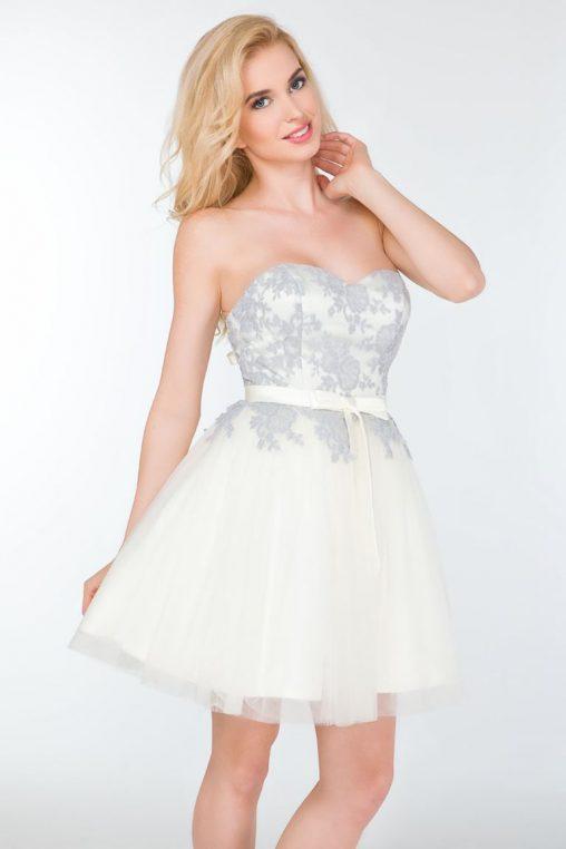 Balowa gorsetowa sukienka bez ramiączek ecru