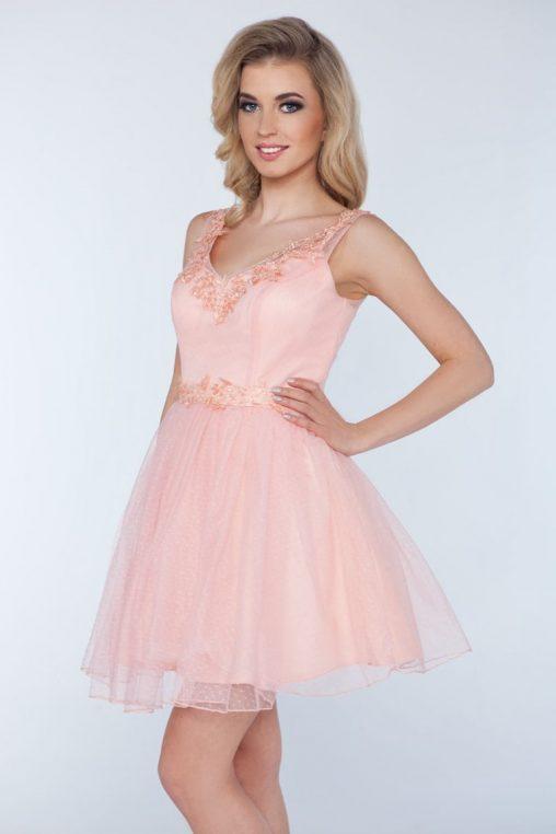 Balowa sukienka z szyfonu pudrowy róż