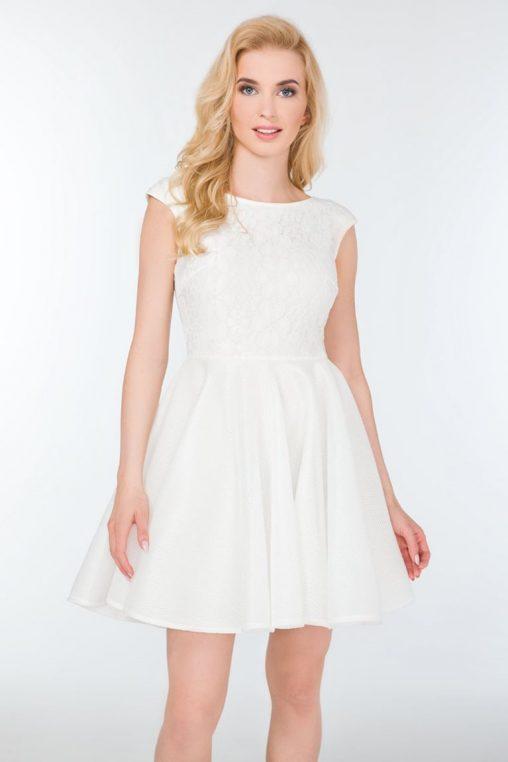 Śliczna rozkloszowana sukienka na wesele kremowa