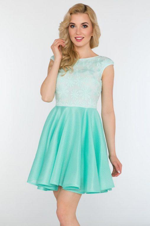 Śliczna rozkloszowana sukienka na wesele miętowa