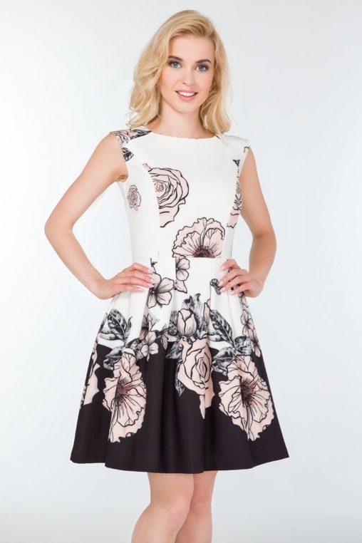 Wizytowa sukienka w kwiaty kontrafałda biel czerń