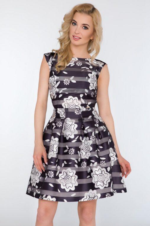 Wizytowa sukienka w kwiaty kontrafałda biel granat