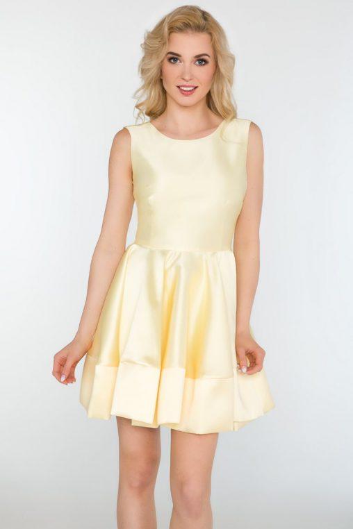 Rozkloszowana wizytowa sukienka bez rękawów żółta