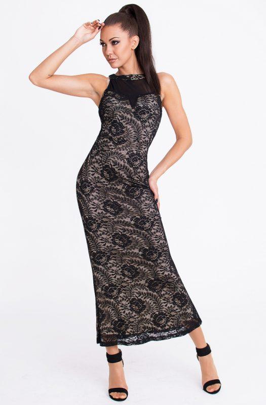 Koronkowa długa sukienka maxi czarna