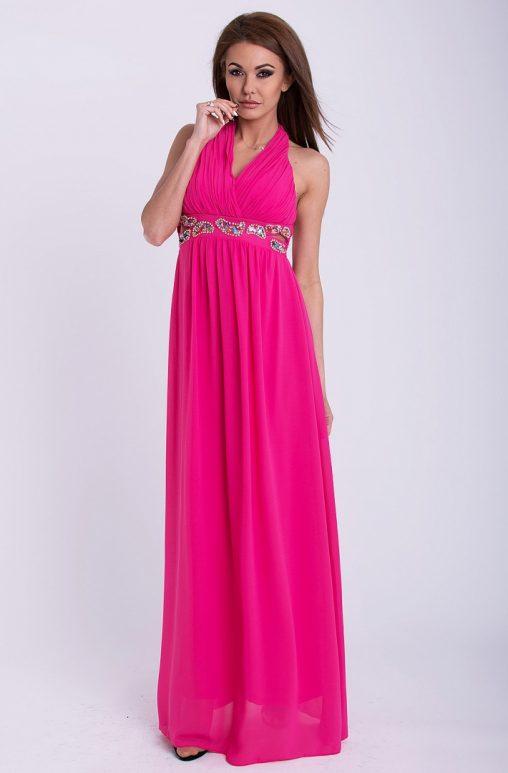 Wieczorowa sukienka maxi z szyfonu różowa