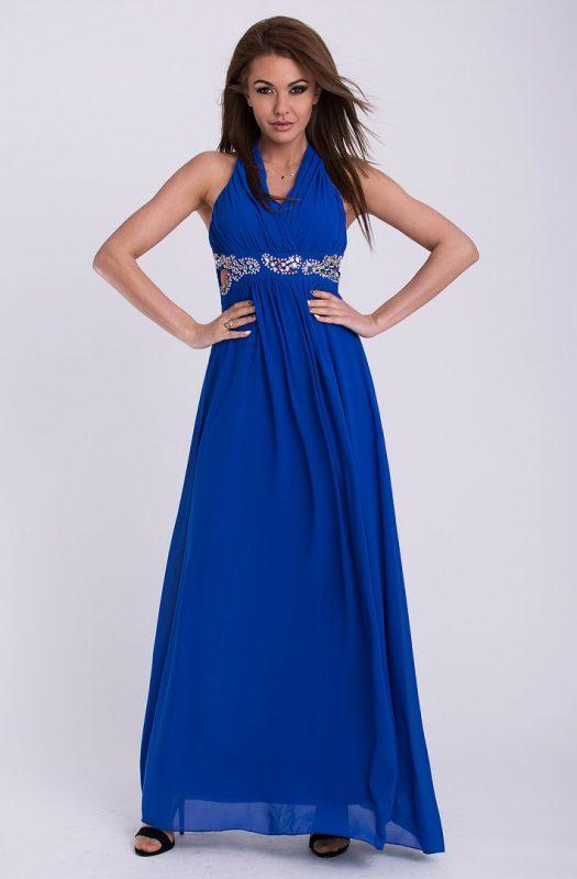 Wieczorowa sukienka maxi z szyfonu niebieska