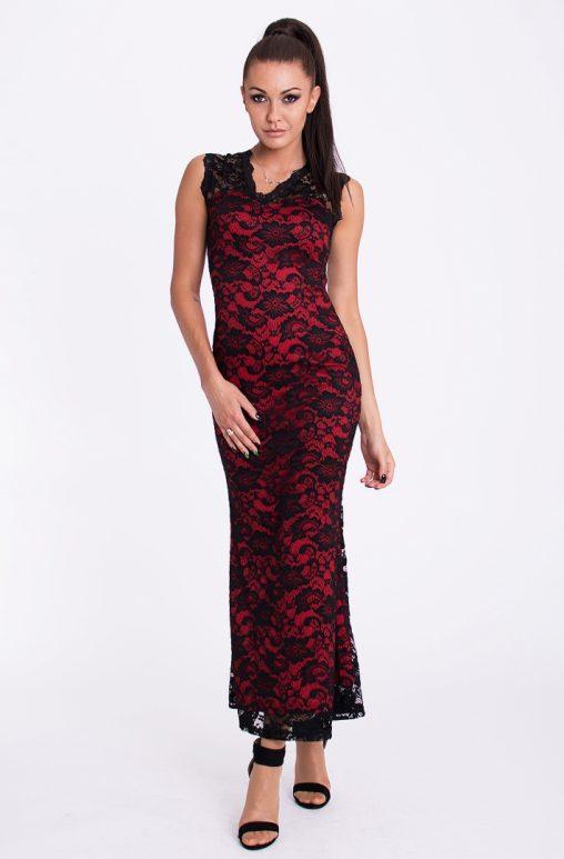 Koronkowa letnia sukienka do kostek czerwono czarna