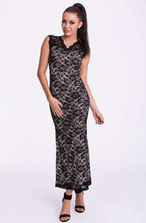 Koronkowa letnia sukienka do kostek kremowo czarna