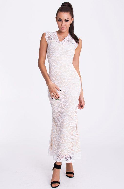 Koronkowa letnia sukienka do kostek kremowo biała