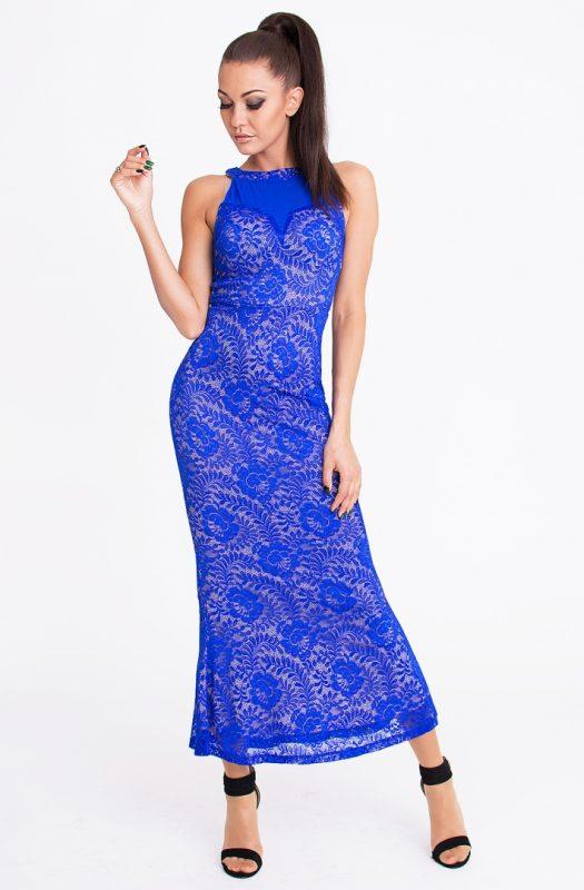 Koronkowa długa sukienka maxi niebieska