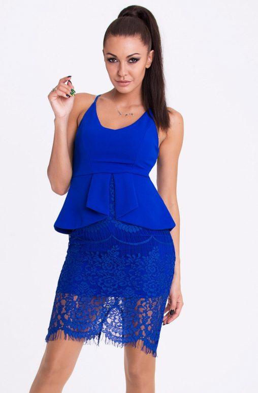 Sukienka na ramiączkach z baskinka i koronką niebieska