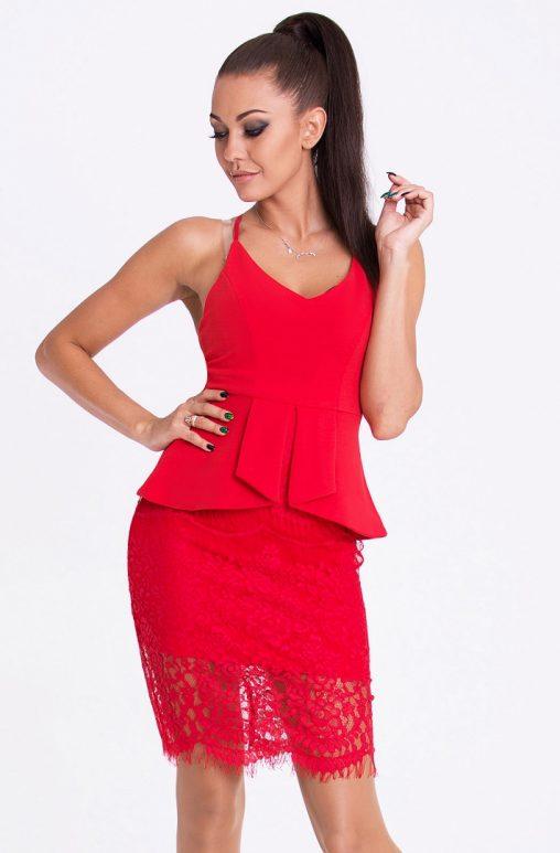 Sukienka na ramiączkach z baskinka i koronką czerwona