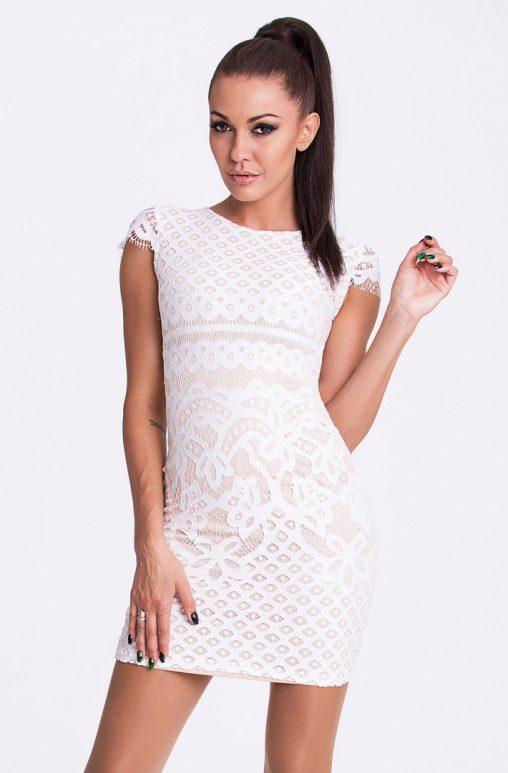 Dopasowana mini sukienka z haftem biała