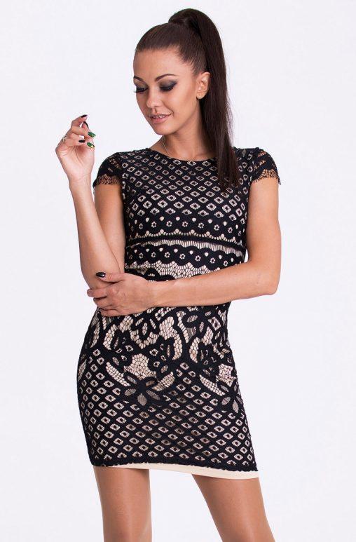 Dopasowana sukienka mini z haftem czarna