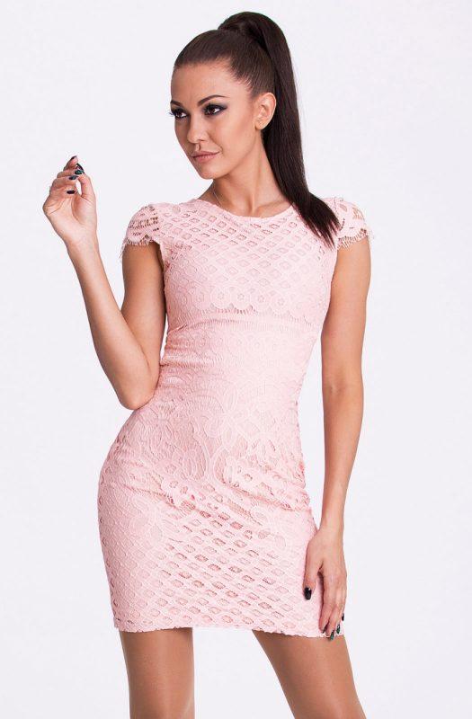 Dopasowana mini sukienka z haftem różowa