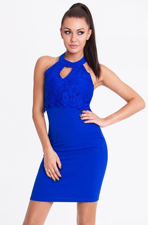 Elegancka niebieska sukienka mini na szyje