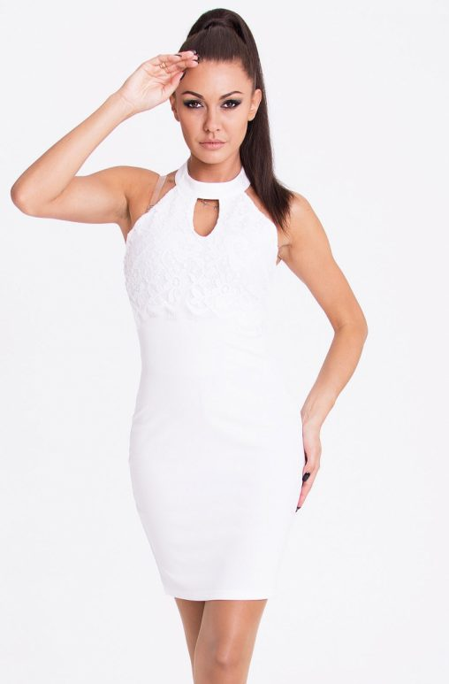 Elegancka biała obcisła sukienka mini na szyje