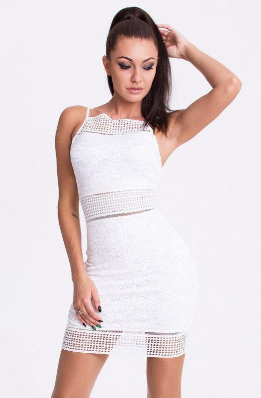 Biała sukienka koronkowa na ramiączkach
