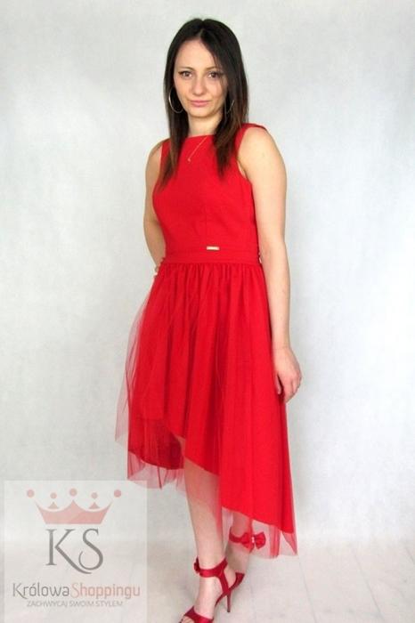 Asymetryczna sukienka z tiulem czerwona