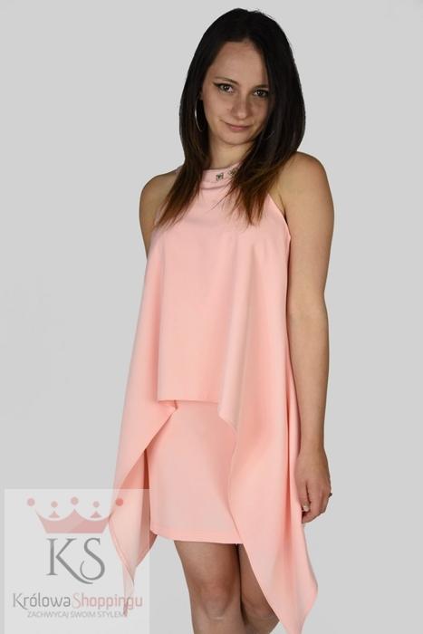 Eleganckie sukienki wizytowe kreacja dwuwarstwowa morelowa