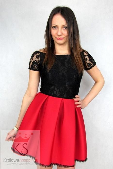 Sukienka rozkloszowana z koronką czerwona czarna