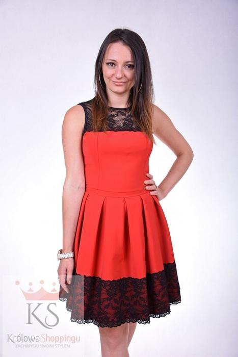 Eleganckie sukienki koktajlowe z koronką czerwona