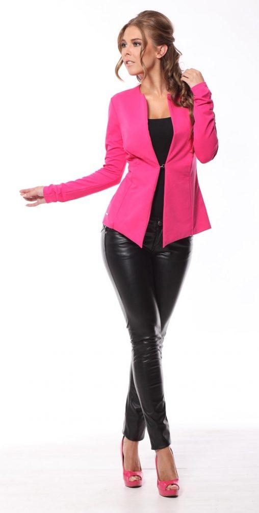 Taliowany elegancki żakiet damski różowy
