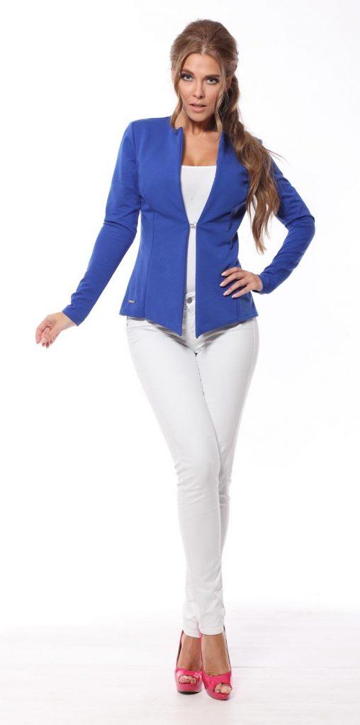 Taliowany elegancki żakiet damski niebieski