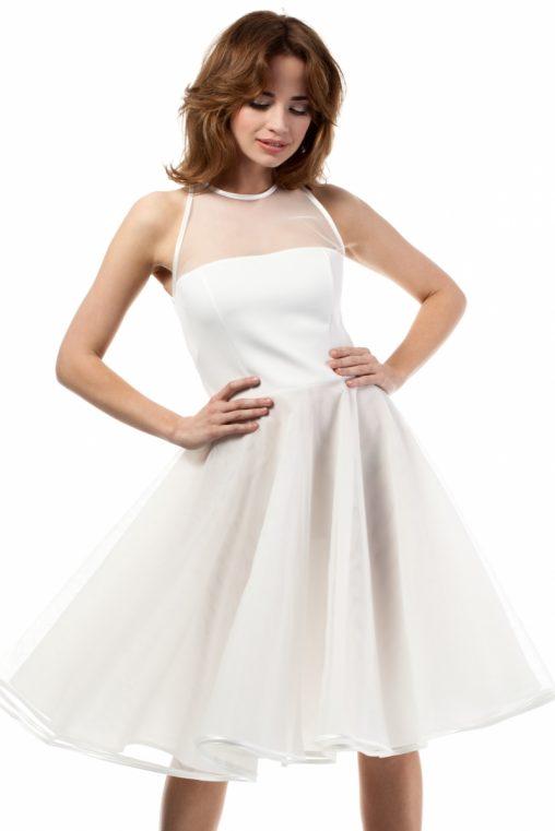 Rozkloszowana sukienka tiulowa z siateczką ecru