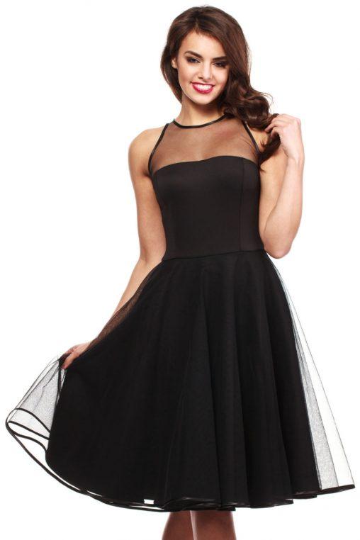 Czarna rozkloszowana sukienka tiulowa z siateczką