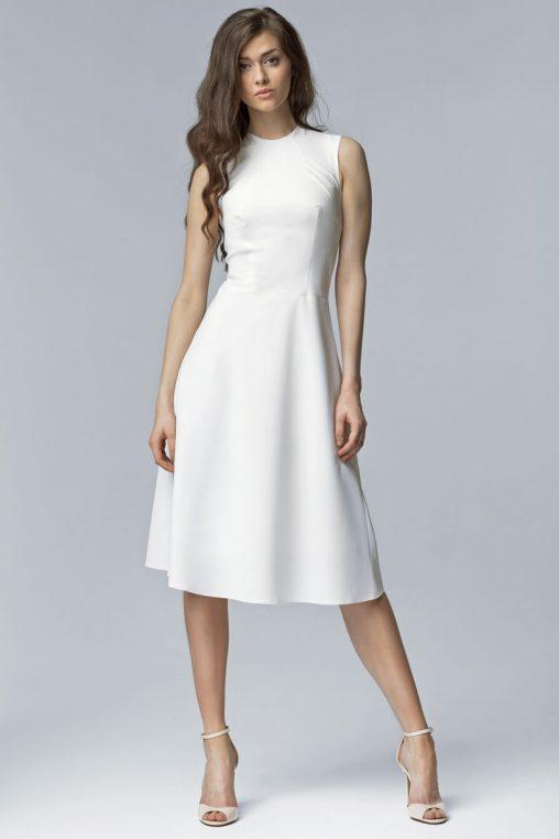 Rozkloszowana sukienka za kolano ecru