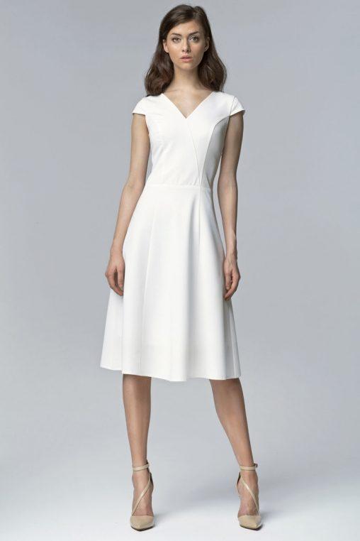 Elegancka sukienka za kolano wizytowa ecru