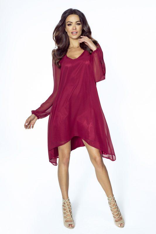Letnia sukienka asymetryczna z szyfonu długi rękaw bordowa