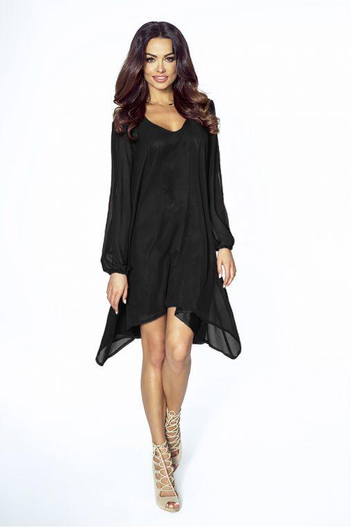 Letnia sukienka asymetryczna z szyfonu długi rękaw czarna