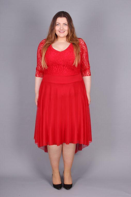 Wieczorowa koronkowa sukienka plus size czerwona