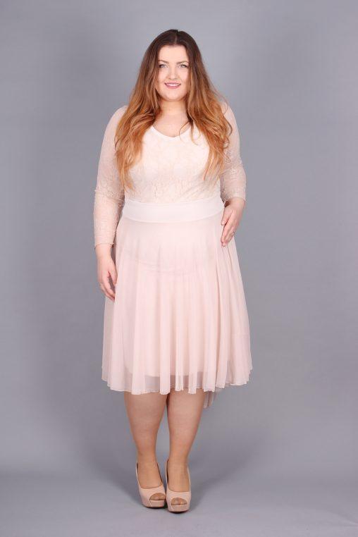 Wieczorowa koronkowa sukienka plus size beżowa