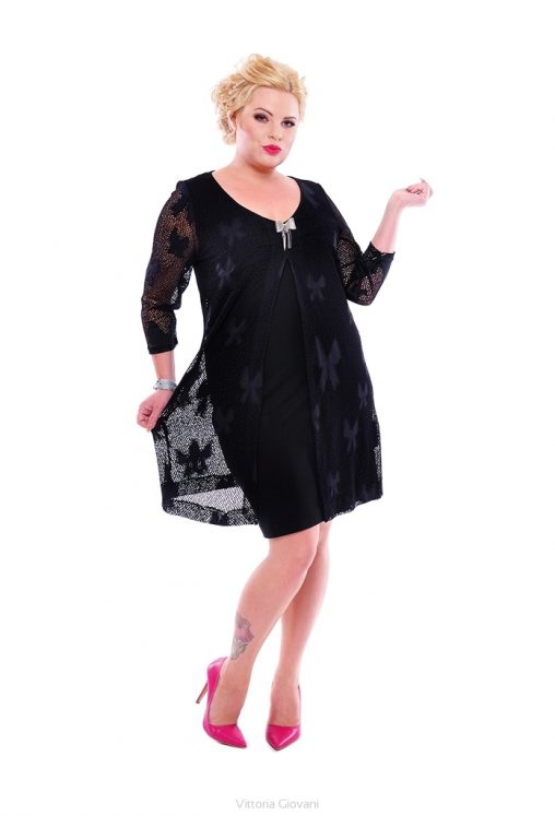 Modna sukienka z narzutką plus size sukienki wieczorowe czarna
